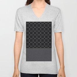 Black Square Petals Graphic Design Pattern PPG Paint Blackhearth Unisex V-Neck