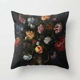 Jacob Vosmaer - A Vase with Flowers Throw Pillow