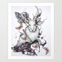 jackalope Art Prints featuring Jackalope by Lauren Marx