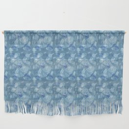 Blue Grey Abstract Floral Lace Pattern Wall Hanging