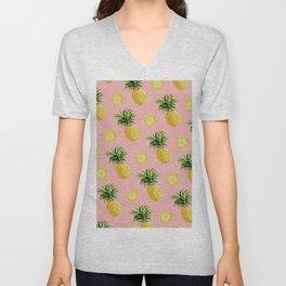 Pineapple and Pink III Unisex V-Neck