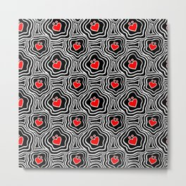 'I Love You Umlaut' Valentine's Pattern - Red, White and Black Block Print Metal Print