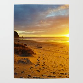 Cannon Beach Oregon At Sunset Haystack Rock Poster