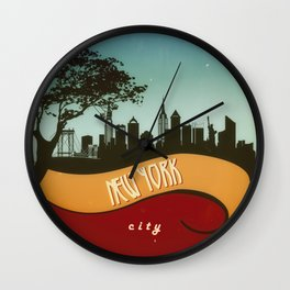 New York City Skyline NYC Retro Vintage Design  Description Wall Clock