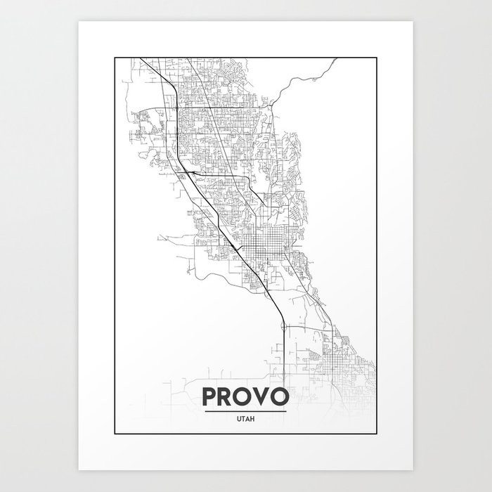 photograph about Printable Map of Utah named Lower Town Maps - Map Of Provo, Utah, United Claims Artwork Print via valsymot