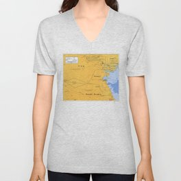 Gulf War Boundaries Map, Saudi Arabia, Iraq, Kuwait (1991) Unisex V-Neck