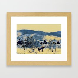 Indian Horse Pony Yellow Winter by CheyAnne Sexton Framed Art Print