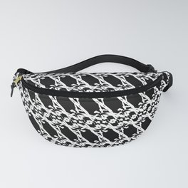 Strict pattern of white squiggles and black ropes on a monochrome background Fanny Pack