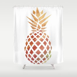 Tropical Pineapple Coral Shower Curtain