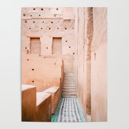 Colors of Marrakech Morocco - El badi palace photo print | Pastel travel photography art Poster