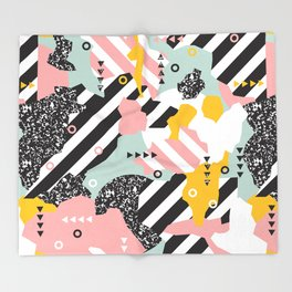 Spliced Geometric Memphis Pattern Geo Stripes Throw Blanket