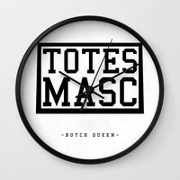 totes Wall Clocks featuring Totes Masc - Classic by lessdanthree