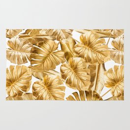 Gold Leaves Aloha Tropical Foliage Pattern Rug
