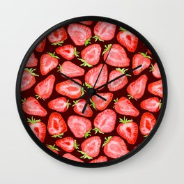 Fresh strawberry slices watercolor dark bg Wall Clock