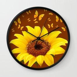 COFFEE BROWN YELLOW SUNFLOWER & BUTTERFLIES Wall Clock