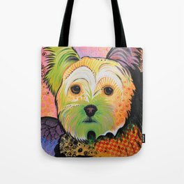 Daisy...Abstract animal pet portrait dog art, Yorkshire Terrier Tote Bag