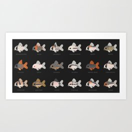 Corydoras! - black Art Print