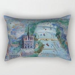 River Seine, Paris, France in Moonlight landscape painting wall decor by Jéan Dufy Rectangular Pillow