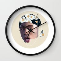 tyler the creator Wall Clocks featuring Tyler, The Creator, Incomplete #2 by Flambino Gambino