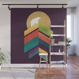 Lingering mountain with golden moon Wall Mural