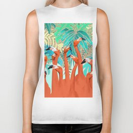 Flamingo Party Biker Tank