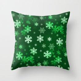 Dark Green Snowflakes Throw Pillow