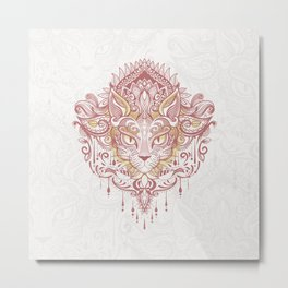 Cat mandala Metal Print