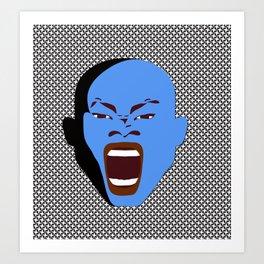 blue man face digital art atalanta creative zollione store Art Print