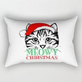 Meowy Christmas Merry Cat Kitten Ugly Rectangular Pillow