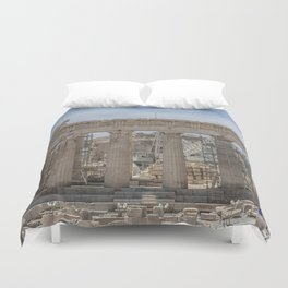 Modern and Ancient - Parthenon at Acropolis of Athens Under Construction Duvet Cover