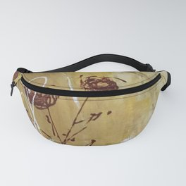 Yellow Tan Spring Abstract Flowers. Jodilynpaintings. Abstract Floral Fanny Pack