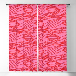 Pink molecular helix with diagonal circles on strawberry background. Blackout Curtain