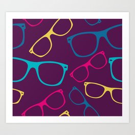 glasses Seamless pattern retro sunglasses Art Print
