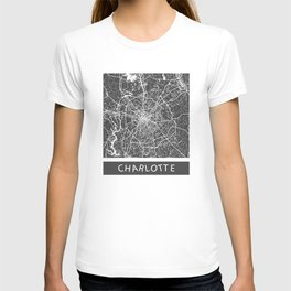 Charlotte map blue T-shirt