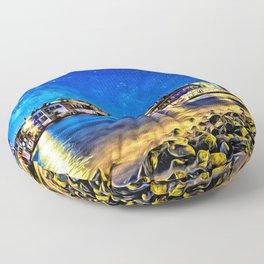 Dusk on Mykonos Beach Floor Pillow