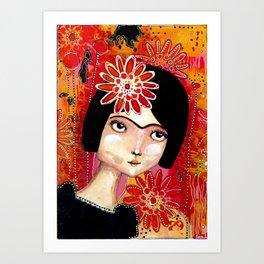 Frida girl organge Art Print