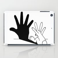 rabbit iPad Cases featuring Rabbit Hand Shadow by Mobii