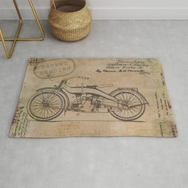 Original Motorcycle Drawing Sketch with Signatures Rug