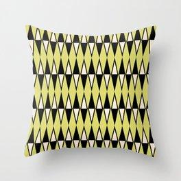 Mid Century Modern Diamond Pattern Black Chartreuse 231 Throw Pillow