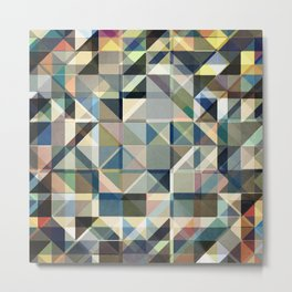 Abstract Earth Tone Grid Metal Print