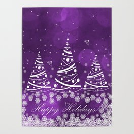 Happy Holidays Purple Magic Poster