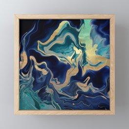 DRAMAQUEEN - GOLD INDIGO MARBLE Framed Mini Art Print