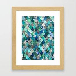 Mermaid Pattern, Sea,Teal, Mint, Aqua, Blue Framed Art Print