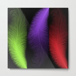 Abstract colorful feathers Metal Print