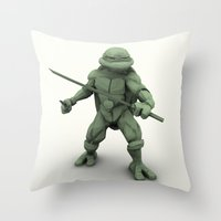 ninja turtle Throw Pillows featuring ninja turtle by aterg88
