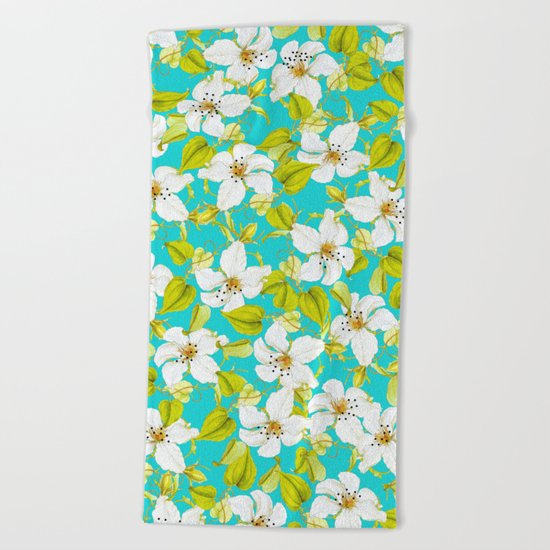 White Floral #society6 #decor #pattern Beach Towel