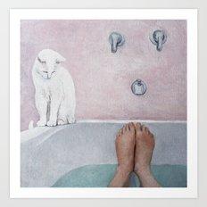 bath with a white cat Art Print
