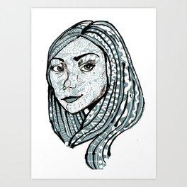 Doodle Face Art Print