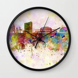 Geneva skyline in watercolor background Wall Clock