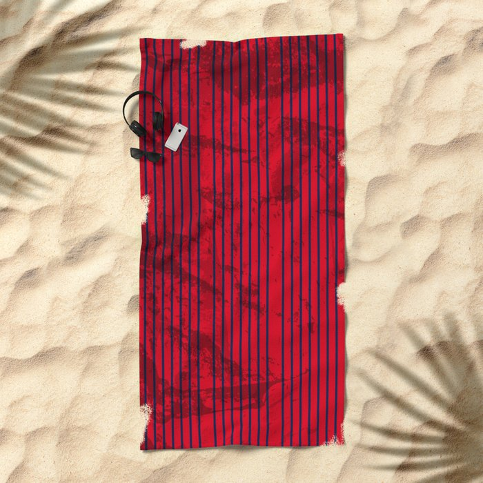 Grunge Blue stripes on bold red background Beach Towel